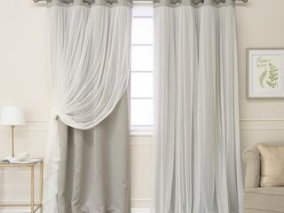 52 W x 84 l   Dove  Aurora Home Gathered Tulle Overlay Blackout Curtain Panel Pair  Retail 82 49