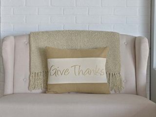 Polyester   Pillow 14x18   Accent   Natural Creme  Give Thanks Pillow 14x18