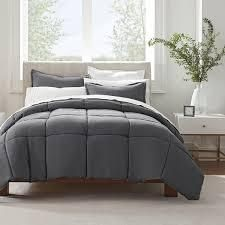 Grey   King  Serta Simply Clean Antimicrobial 3 Piece Comforter Set