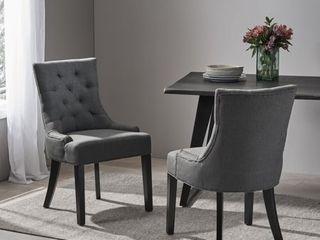 Dark Grey Dark Brown  Hayden Tufted Dining Chair Set  Set of 2  by Christopher Knight Home  Retail 266 49