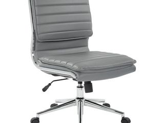 Grey Silver  Armless Mid Back Professional Managers Faux leather Chair with Chrome Base  Retail 192 49