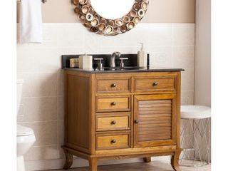 Washington Weathered Oak  Black Granite Top Bath Vanity Sink  Retail 898 99