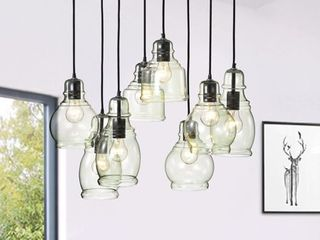 Mariana Antique Black 8 light Clear light Green Glass Cluster Pendant  Retail 207 22