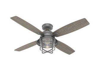 Matte Silver  Hunter 52  Port Royale Outdoor Ceiling Fan with lED light Kit and Handheld Remote  Damp Rated  Retail 249 99