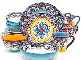 Euro Ceramica Zanzibar 20 piece Stoneware Dinner Set  Service for 4  Retail 128 49