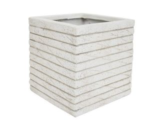Antique White  Kaden Square Riveted lightweight Concrete Garden Urn Planter by Christopher Knight Home