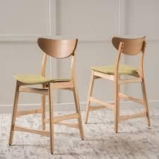 light Beige   Natural Oak  Carson Carrington lund Wood 24 inch Counter Stool  Set of 2  Retail 175 99