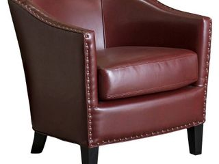 Austin Oxblood Red Bonded leather Club Chair by Christopher Knight Home  Retail 302 49