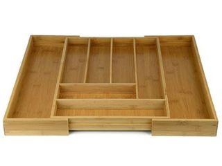 Expandable Utensil Tray  Organic Bamboo Expandable 6 8 Slots Organizer   Cutlery Tray