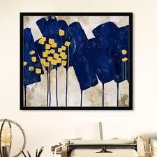 24 x 20   Gold  Oliver Gal  Sapphire Movement  Abstract Wall Art Framed Print Paint   Blue  Yellow  Retail 134 49