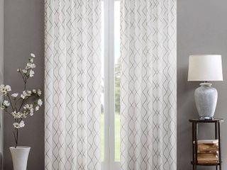 50 W X 84 l   White Grey  Madison Park Iris Embroidered Diamond Sheer Single Curtain Panel