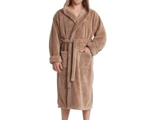 Men s Hooded Sateen Touch Fleece Bathrobe Turkish Soft Plush Robe