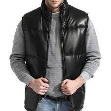 Men s Black lambskin leather Puffer Vest  Retail 128 49