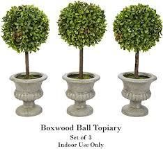Null  Faux Boxwood  Set of 3 Matching Realistic 12 5  Tall  Round Topiary Arrangements in Decorative Urns by Pure Garden