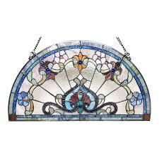 Chloe Tiffany Style Stained Glass Semi Circle Window Panel  Retail 109 99
