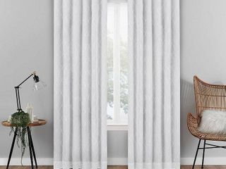 63 x50  Nora Geo Embroidery Absolute Zero Blackout Window Panel White   Eclipse