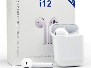 i12 White TWS Bluetooth 5 0 Wireless Earbuds  Touch Control  Wireless Bluetooth Headphones with Deep Bass HiFi Stereo Sound iOS and Android