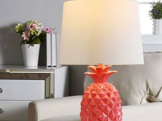 The Curated Nomad Pink Pineapple Table lamp with White Drum Shade