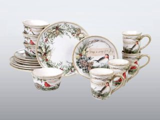 16 Piece  Certified International Holly and Ivy 16 piece Dinnerware Set  1 dinner plate slightly bubbled