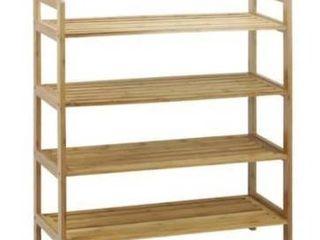 4 Tier Bamboo Shoe Rack Entryway Shoe Shelf Storage Organizer