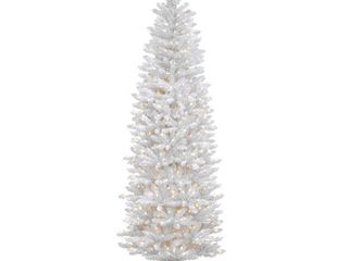 6 5 Foot White Fir Pencil Tree with Clear lights  tested  lights up