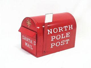 Sunset Vista Metal 12 25 in  H Christmas North Pole Post Mailbox Outdoor Garden Stake Red