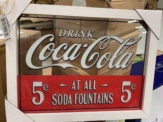 Coca Cola English Drink Coca Cola Window Art Sign Glass 13 in  H x 10 in  W