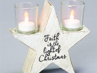 Roman Rustic Star Candleholder Christmas Decoration Resin 1 pk White  candles not included