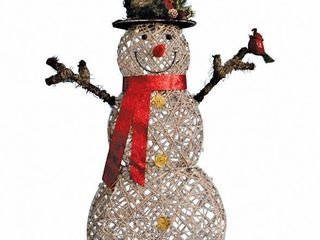 Celebrations lED Snowman Christmas Decoration Natural Birch 60 in   tested  lights up