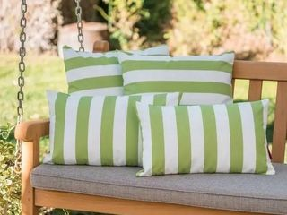 Coronado Outdoor Striped Pillow  Set of 4  by Christopher Knight Home
