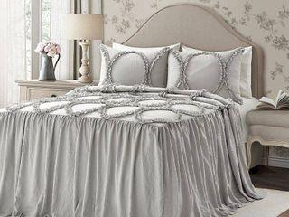 Queen 3pc Riviera Bedspread Set light Gray   lush DAccor
