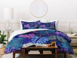 Deny Designs Tropical Florals Indigo Duvet Cover Set  3 Piece Set  Retail 199 49