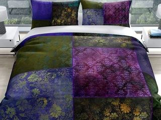 EClECTIC BOHEMIAN PATCHWORK PURPlE GREEN AND GOlD Duvet Cover By Kavka Designs Retail 187 49