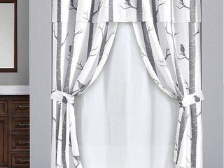 16pc Bird On The Tree Shower Curtain with Peva lining Ring Set Gray   lush DAccor