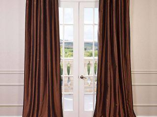 Exclusive Fabrics Faux Silk Taffeta 96 inch Blackout Curtain Panel Chocolate Brown