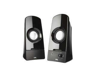 Cyber Acoustics CA 2050 Cyber Acoustics Curve Sonic 2 0 Speaker System   3 W RMS   No   Volume Control