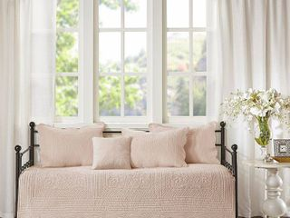 Genoa Daybed 6pc Reversible Scalloped Edge Daybed Cover Set Blush
