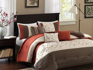 Monroe 7 Piece Comforter Set  Polyester w  Embroidery  Spice  King