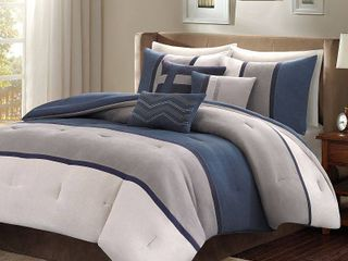 Blue Overland Microsuede Comforter Set King 7pc Homa