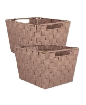 DII Durable Trapezoid Woven Nylon Storage Bin or Basket for Organizing Your Home  Office  or Closets  large Basket   13x15x10  Taupe   Set of 2