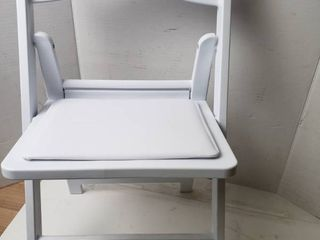Kids Size White Resin Folding Chair with White Vinyl Padded Seat