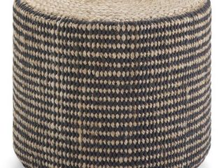Simpli Home larissa Contemporary Round Braided Jute Ottoman in Natural and Black