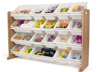 Humble Crew Journey Extra large Toy Storage Organizer with 20 Storage Bins  Natural White