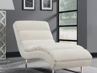 Chrome  Silver Orchid Rehmann White Tufted Upholstered Chaise
