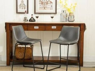 Carbon loft Inyo Vintage PU leather Counter Height Stools  Set of 2  Retail 146 99