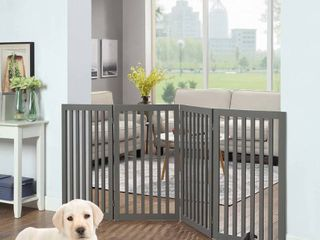 Unipaws Freestanding Wooden Dog Gate  2 Support Feet  Indoor Barrier  80 W x 36 H  Gray