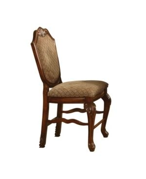 Acme Furniture Chateau De Ville Counter Height Chair  Set 2  Fabric and Cherry  Counter Height Chair  Fabric   Cherry