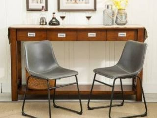 Carbon loft Inyo PU leather Dining Chairs  Set of 2  grey