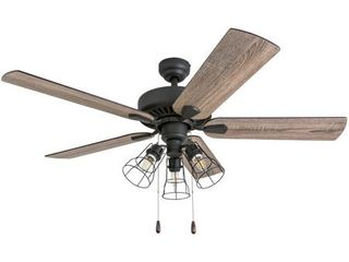 Prominence Home 50586 35 Inland Seas Farmhouse 52 Inch Aged Bronze Indoor Ceiling Fan  Cage lED Cage Barnwood Tumbleweed Blades