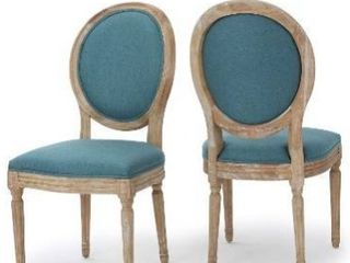 Dark Teal   Natural  Phinnaeus French Country Dining Chairs  Set of 2 by Christopher Knight Home